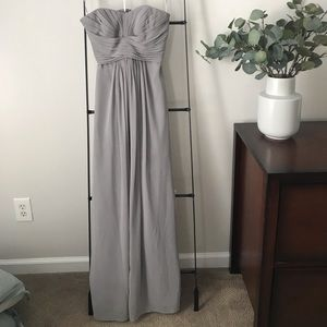 Silver/grey strapless bridesmaid dress